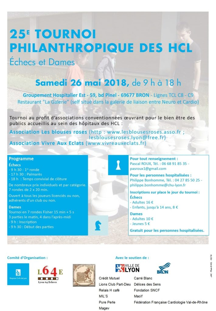 25ᵉ Tournoi Philanthropique des Hôpitaux @ Groupement Hospitalier Est – Restaurant La Galerie