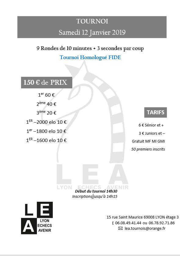 Tournoi du samedi @ Lyon Échecs Avenir