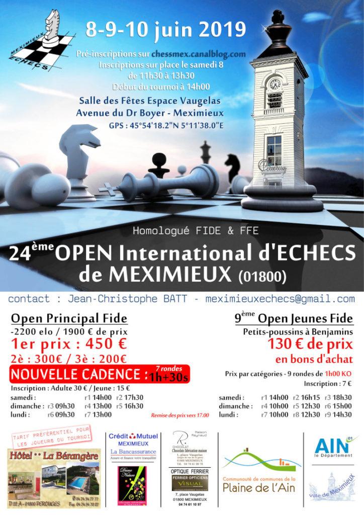 24ᵉ Open International FIDE et 9ᵉ Open Jeunes de Meximieux @ Salle des fêtes – Espace Vaugelas