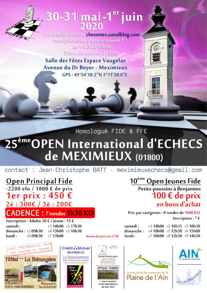 25ᵉ Open International FIDE et 10ᵉ Open Jeunes de Meximieux @ Salle des fêtes – Espace Vaugelas