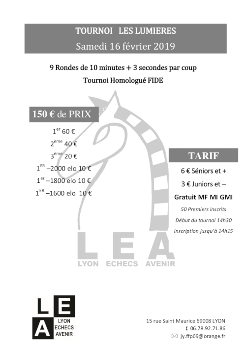 Tournoi « Les Lumières » @ Lyon Échecs Avenir