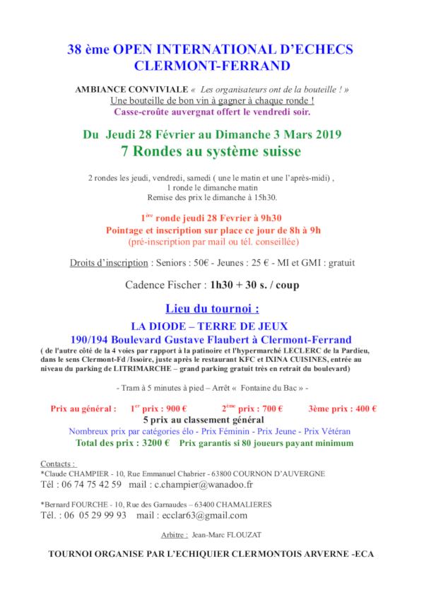 38ᵉ Open International de Clermont-Ferrand @ La Diode – Terre de Jeux