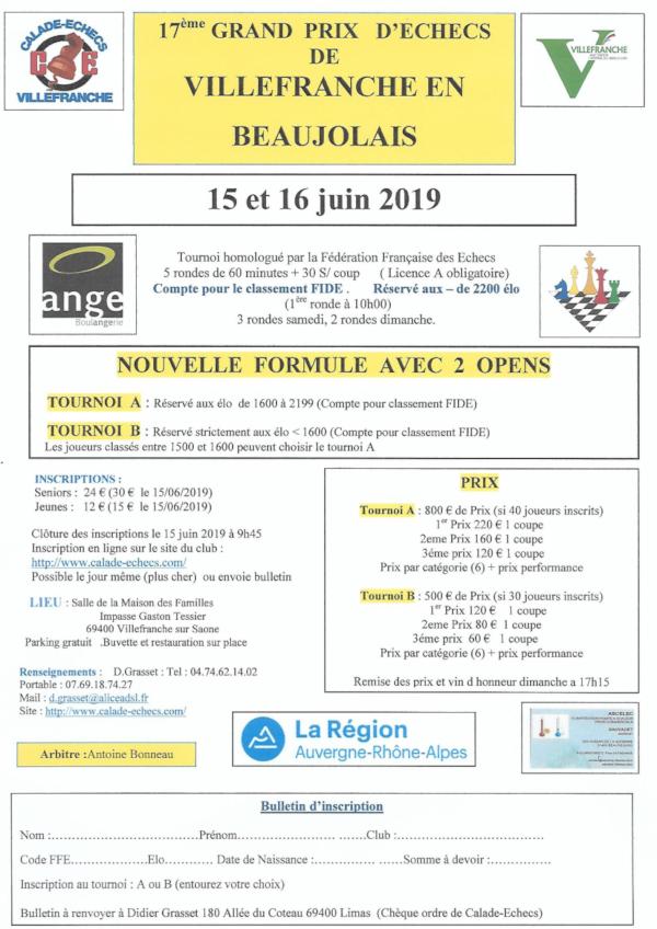 17ᵉ Grand prix d'Échecs de Villefranche en Beaujolais @ Maison des familles