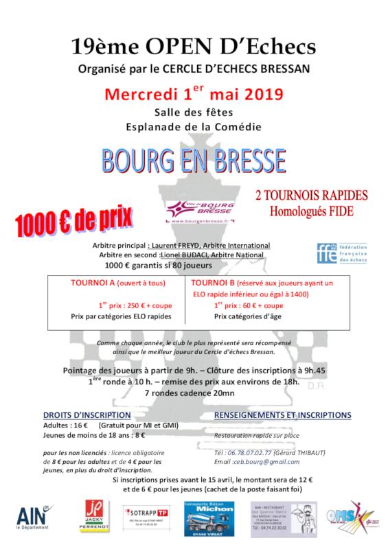19ᵉ Open d'Échecs de Bourg-en-Bresse @ Salle des Fêtes