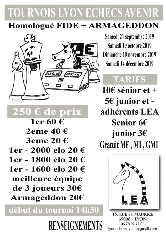 Tournoi du Lyon Échecs Avenir @ Lyon Échecs Avenir