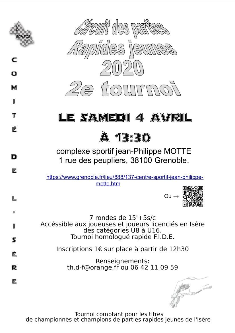 Circuit des parties rapides jeunes de l'Isère 2020 -2- @ complexe sportif jean-Philippe MOTTE